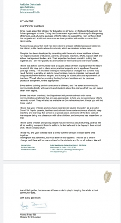 Letter to parents from the Minister for Education